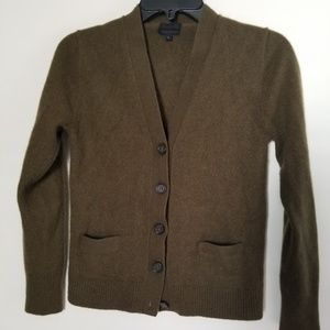 J Crew Cashmere Cardigan Olive Green